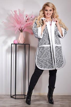 """Женский кардиган на меху """"VS"""" с карманами и капюшоном (большие размеры), фото 2"""