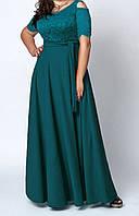 Нарядное женское платье в пол с гипюровым верхом