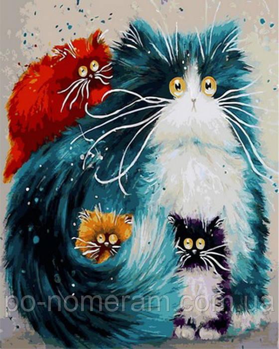 Картина по номерам Мама кошка в детскую комнату