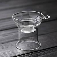 Ситечко для чая с подставкой стеклянное (широкое), фото 1