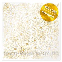 """Лист кальки (веллум) с фольгированием """"golden pion"""" Фабрика Декора"""