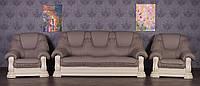 """Комплект кожаной мягкой мебели в наличии, комплект мягкой мебели в коже в гостиную """"Гризли"""",диван и два кресла"""