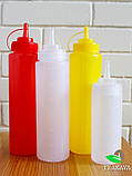 Пляшка для соусу червона, 800 мл (соусник, диспенсер, дозатор), фото 2