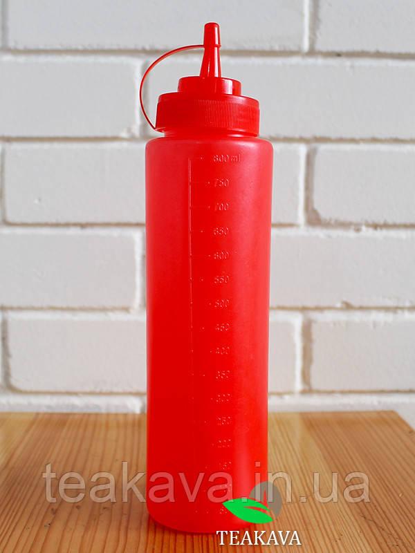 Бутылка с носиком красная, 800 мл (соусник, диспенсер, дозатор)