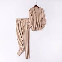 Красивий жіночий повсякденний костюм, кофта та штани бежевий розмір S/M