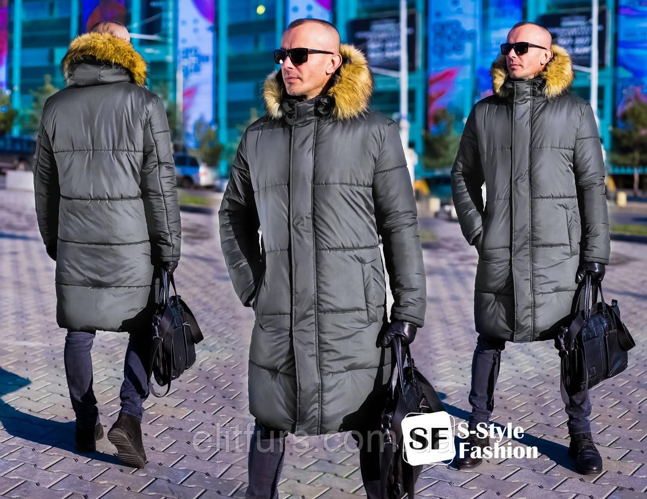 Куртка зимняя длинная, с меховым капюшоном + (4 цвета)