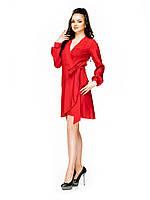 Платье короткое под запах волан однотон красное 48