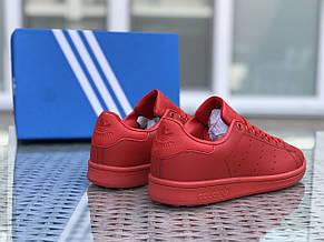 Кроссовки женские,подростковые Adidas Stan Smith,красные, фото 2