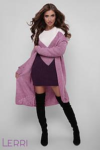 Теплое платье по фигуре с длинным рукавом цвет молоко-сирень-темный фиолет