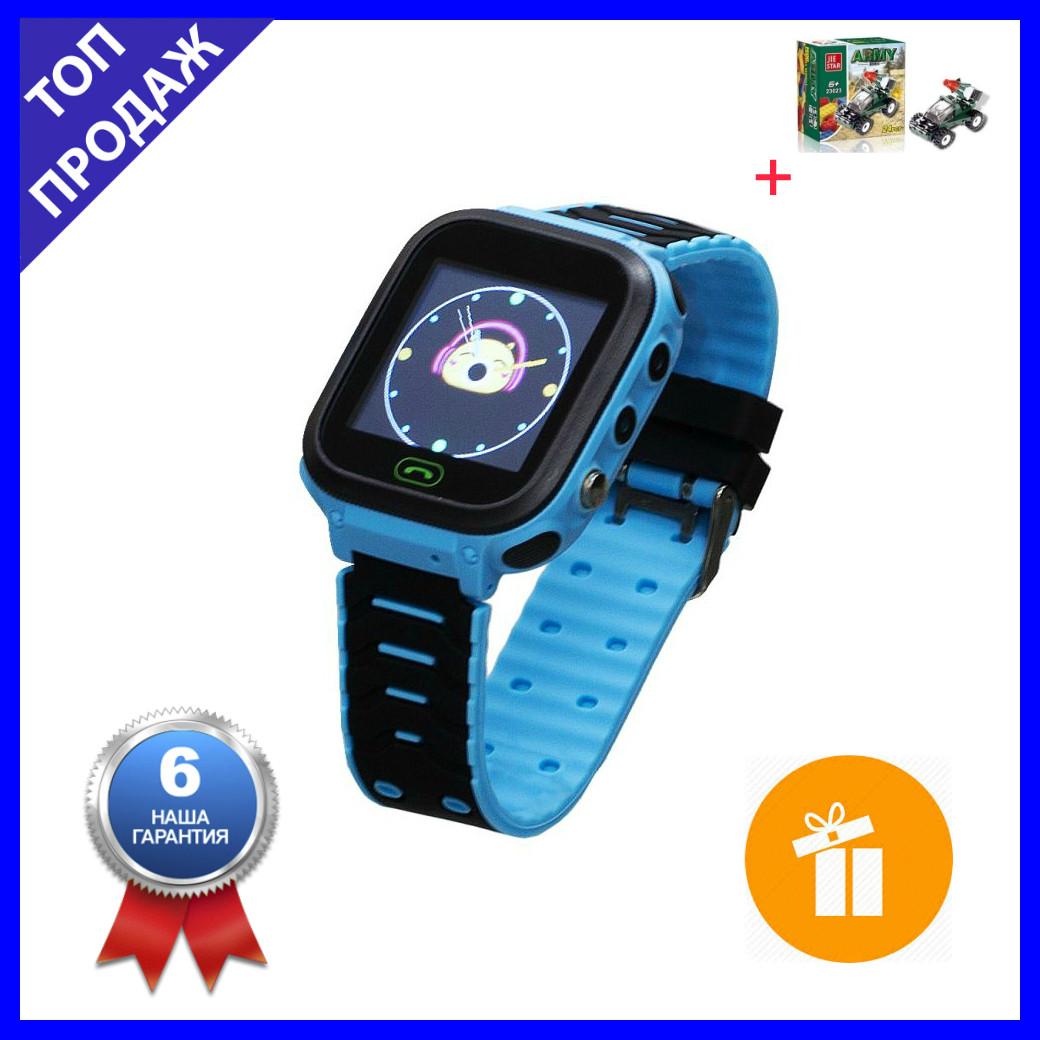 Детские Смарт Часы T18 GPS с сенсорным экраном Цвет Синий (гарантия 6 мес.) + Подарок конструктор