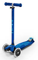 Самокат со светящимися колесами Micro Maxi Deluxe Navy Blue LED