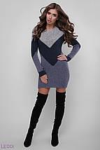 Осеннее вязаное платье приталенное на каждый день цвет темн.серый-джинс сталь, фото 2
