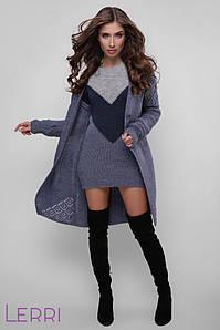 Осеннее вязаное платье приталенное на каждый день цвет темн.серый-джинс сталь