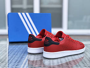 Кроссовки женские,подростковые Adidas Stan Smith,красные с белым, фото 2