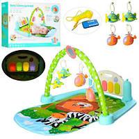 Развивающий коврик- для малышей Пианино-на радиоуправлении, подвески 5 шт, микрофон, музыка, свет 9913B