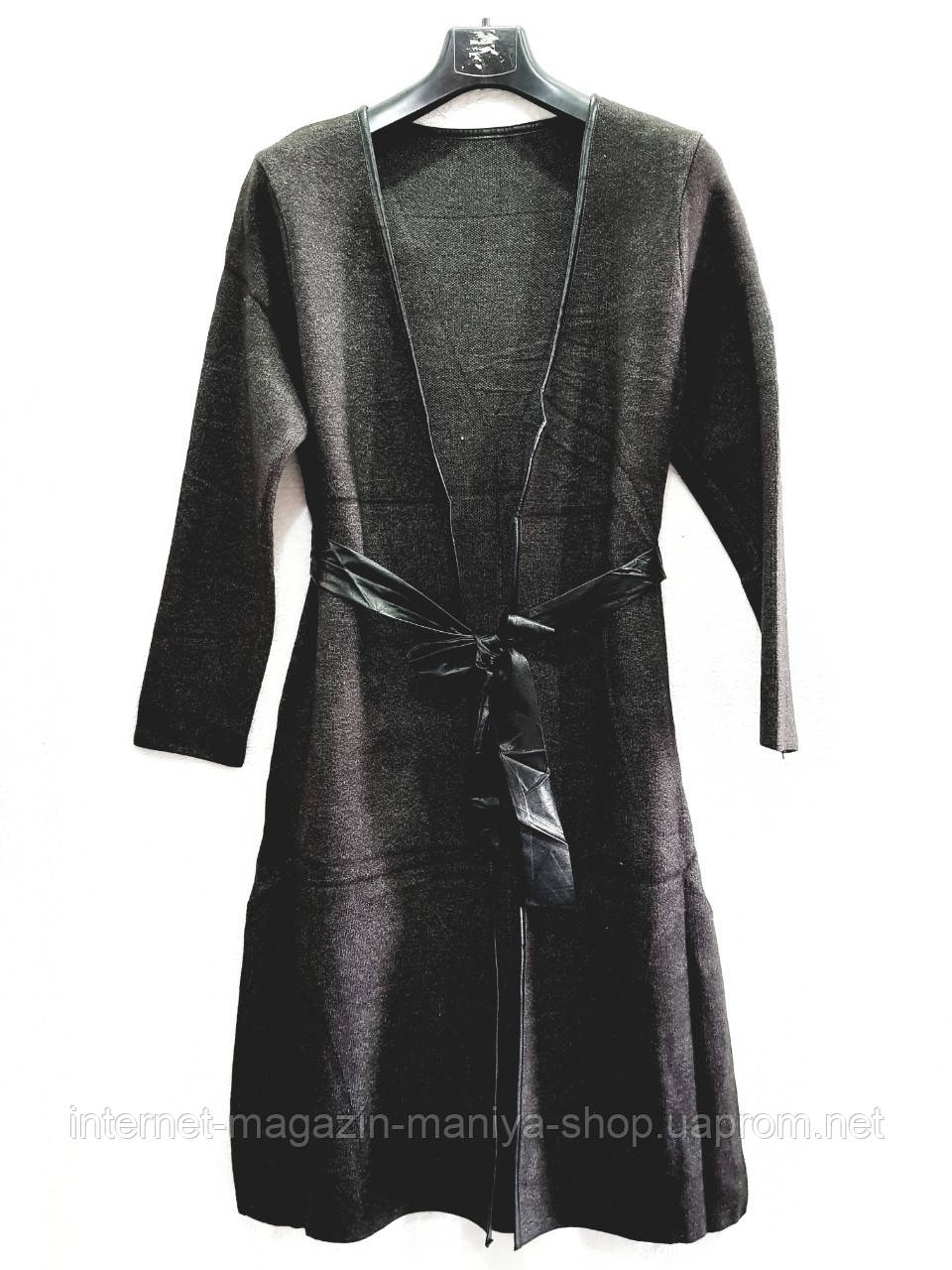 Кардиган женский удлиненный с поясом универсал 42-46 (деми)