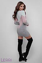 Красивое платье в обтяжку вязаное до середины бедра цвет лед-пудра-темн.серый, фото 2