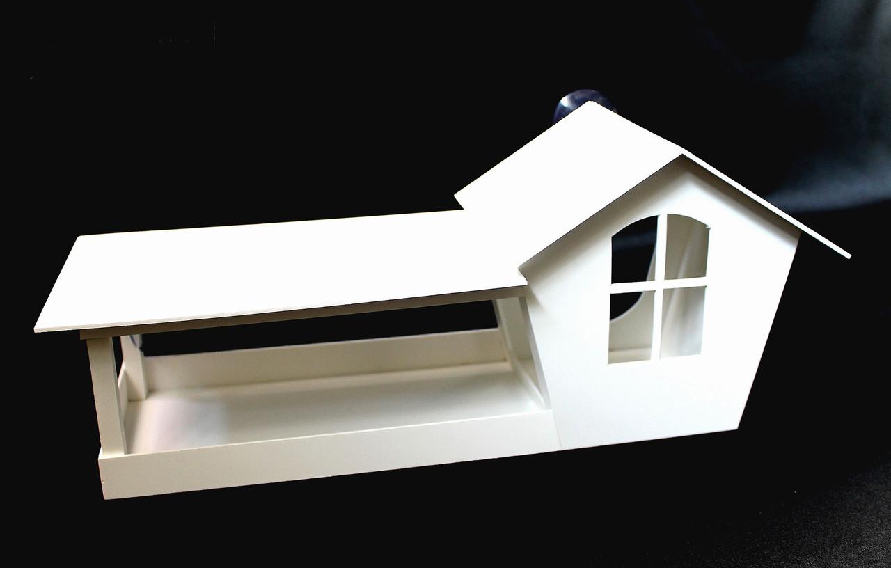 Годівниця для птахів з присосками на вікно Біла