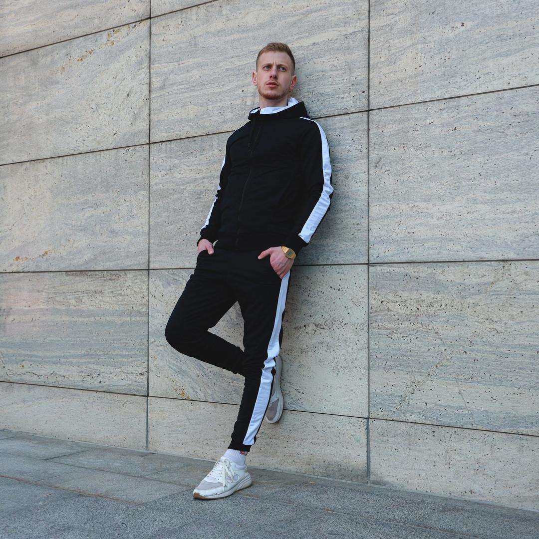 Спортивный мужской костюм демисезонный. Мужская олимпийка на молнии+штаны с лампасами.