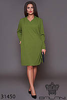 Платье трикотажное зелёное миди (размеры 50, 52, 54, 56)