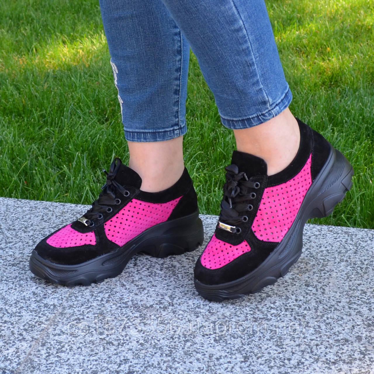 Стильные женские замшевые кроссовки на шнуровке, цвет черный/фуксия