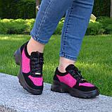 Стильные женские замшевые кроссовки на шнуровке, цвет черный/фуксия, фото 2