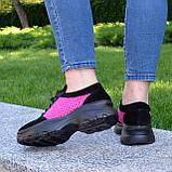 Стильные женские замшевые кроссовки на шнуровке, цвет черный/фуксия, фото 3