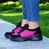 Стильные женские замшевые кроссовки на шнуровке, цвет черный/фуксия, фото 4