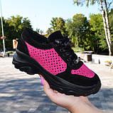 Стильные женские замшевые кроссовки на шнуровке, цвет черный/фуксия, фото 5