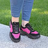 Стильные женские замшевые кроссовки на шнуровке, цвет черный/фуксия, фото 6