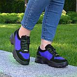Стильные женские замшевые кроссовки на шнуровке, цвет черный/электрик, фото 2