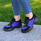 Стильные женские замшевые кроссовки на шнуровке, цвет черный/электрик, фото 3