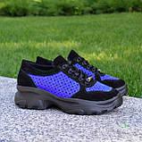 Стильные женские замшевые кроссовки на шнуровке, цвет черный/электрик, фото 5