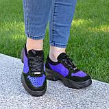 Стильные женские замшевые кроссовки на шнуровке, цвет черный/электрик, фото 6