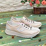 Кроссовки женские кожаные  на утолщенной белой подошве, цвет беж/белый, фото 2