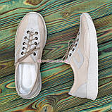 Кроссовки женские кожаные  на утолщенной белой подошве, цвет беж/белый, фото 3