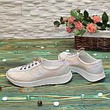 Кроссовки женские кожаные  на утолщенной белой подошве, цвет беж/белый, фото 4