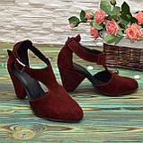 Туфли женские замшевые на устойчивом каблуке, цвет бордо, фото 2
