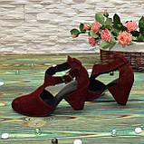 Туфли женские замшевые на устойчивом каблуке, цвет бордо, фото 3