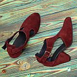 Туфли женские замшевые на устойчивом каблуке, цвет бордо, фото 4