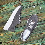 Кроссовки женские замшевые на белой подошве, на шнурках. Цвет серый, фото 5