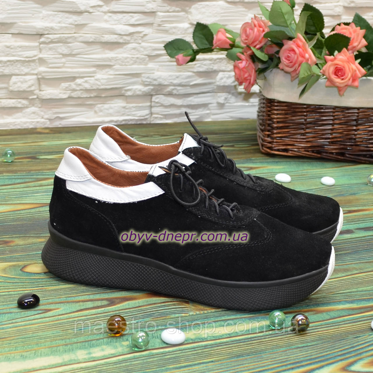 Кроссовки женские комбинированные на утолщенной подошве, цвет черный/белый