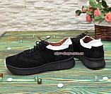 Кроссовки женские комбинированные на утолщенной подошве, цвет черный/белый, фото 2