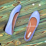 Балетки женские кожаные, цвет голубой, фото 2