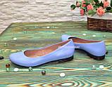 Балетки женские кожаные, цвет голубой, фото 3