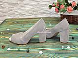 Туфли замшевые с открытым носком, на высоком устойчивом каблуке, цвет бежевый, фото 4