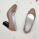 Туфли женские кожаные классические на устойчивом каблуке, фото 2