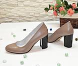 Туфли женские кожаные классические на устойчивом каблуке, фото 3