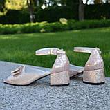 Босоножки женские кожаные на невысоком каблуке, фото 4