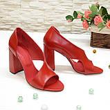 Босоножки женские кожаные на устойчивом каблуке, цвет красный, фото 3